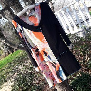 Boho Tunic Top Long Sleeves VNeck Teal M Rayon